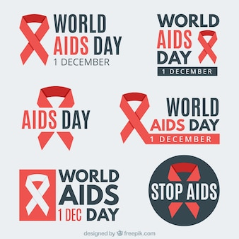 Collection of stickers with the symbol of world aids day