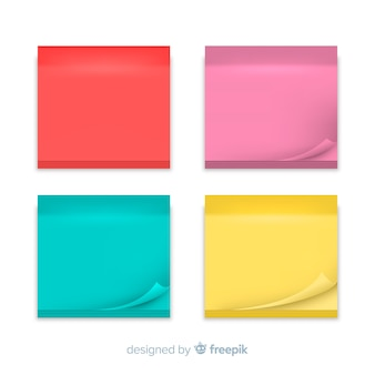 Collection of sticky notes in realistic style