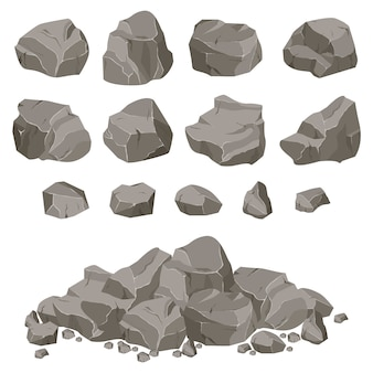 Collection of stones of various shapes. stones and rocks in isometric 3d flat style.