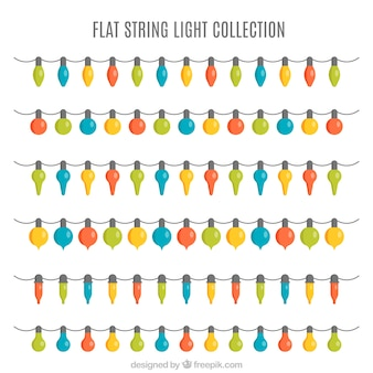 Collection of strings with colorful lights