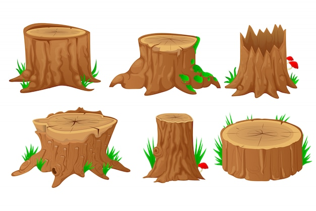 Collection of stumps with cartoon style