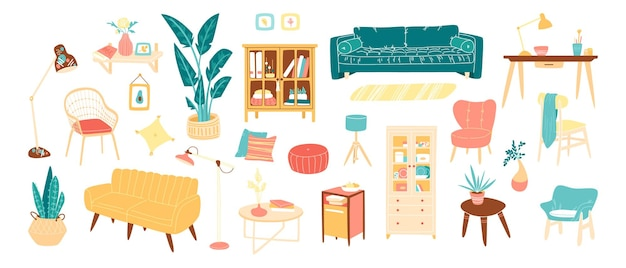 Collection of stylish comfy furniture, home decorations icons for living room