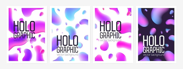 Collection of stylish holographic backgrounds or backdrops with abstract shapes or gradient colored rounded stains and place for text. colorful vector illustration for poster, flyer, postcard.