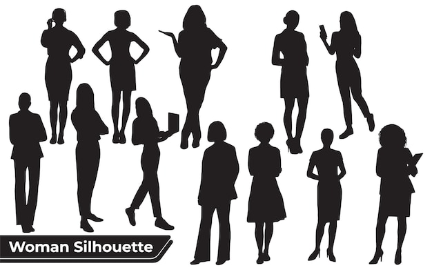 Collection of stylish woman silhouettes in different poses