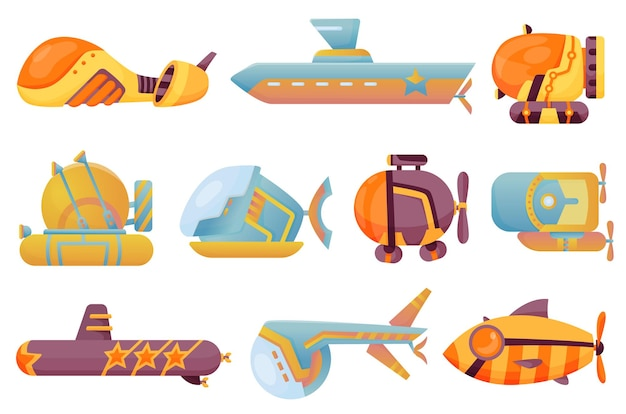 Collection submarines undersea. cute cartoon yellow submarines. bathyscaphe underwater ships. diving exploring at the bottom of sea. child game illustrations.