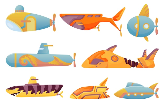 Collection submarines undersea. cute cartoon yellow submarines.