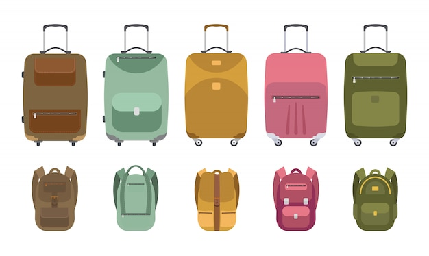 A collection of suitcases and backpacks for travel.