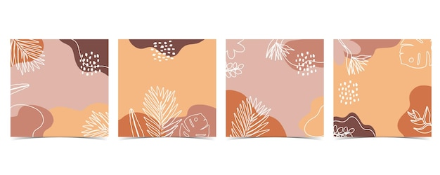 Collection of summer background set with leaves