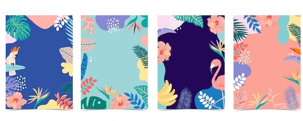 Collection of summer background set with palm,flamingo,flower. tags: 12 (min. 5 - max. 50 tags)