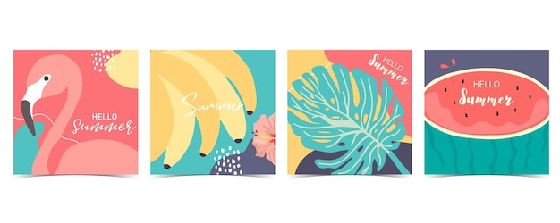 Collection of summer background set with palm,watermelon flamingo,banana.hello summer