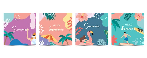 Collection of summer background set with palmcoconut treeseabeachhello summer Premium Vector