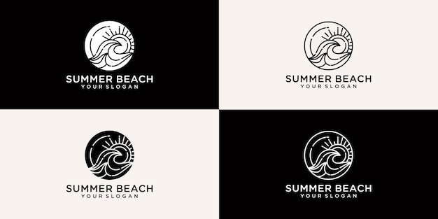 Collection of summer beach logos in line style