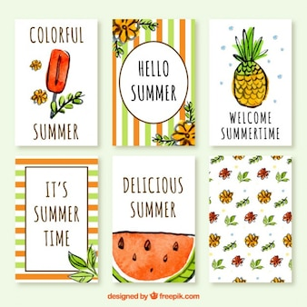 Collection of summer card in watercolor effect