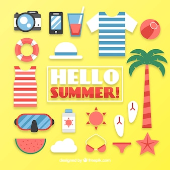 Collezione di attrezzature per vacanze estive in design piatto