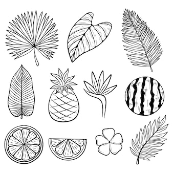 Collection of summer icons or elements with sketchy style on white background