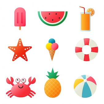 Collection of summer icons isolated on white background.