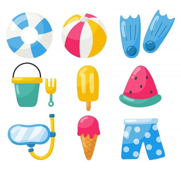 Collection of summer icons isolated