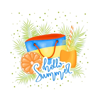 A collection of summer items. cartoon style. vector illustration.