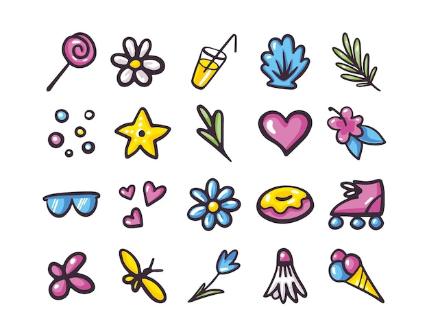 Collection of summer items icons in doodle style. colorful vector illustration isolated on a white background. sunglasses, sweets, cocktail, tropical flowers and leaves, ice cream, seashell.