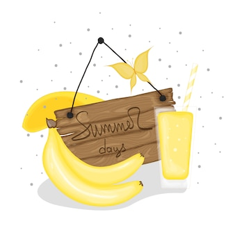 A collection of summer items with banana cocktail