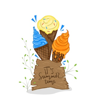 A collection of summer items with ice cream