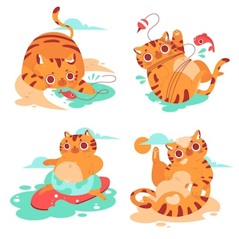 Collection of summer kitty stickers