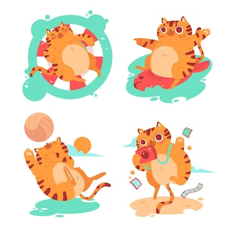 Collection of summer kitty stickers Free Vector