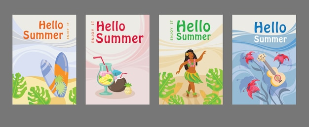 Collection of summer posters with surfboard, cocktail, girl, guitar, ocean. hello summer inscription