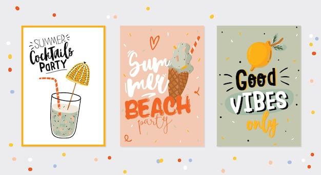 Collection of summer print with cute holiday elements and lettering on color background. hand drawn trendy style.