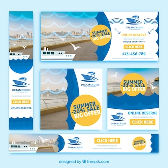 Collection of summer travel discount banners