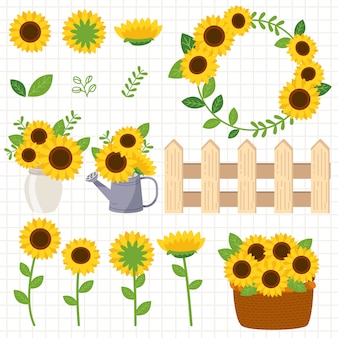 The collection of sunflower and fence and water can and jar and basket. the sunflower in jar and water can and basket. the cute sunflower in flat vector style.