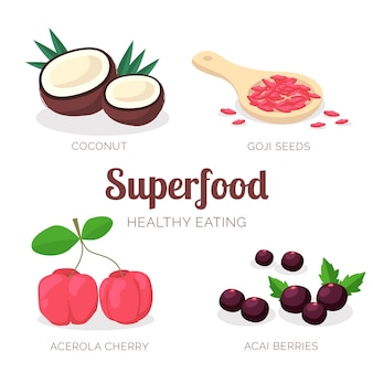 Collection of super food for a healthy lifestyle