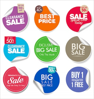 Collection of super sale and price badge and labels