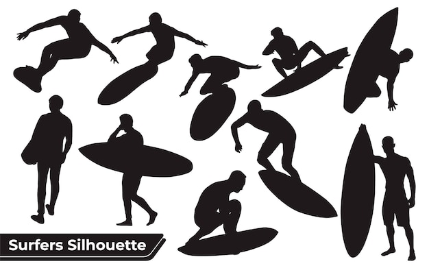 Collection of surfers sea silhouettes in different poses