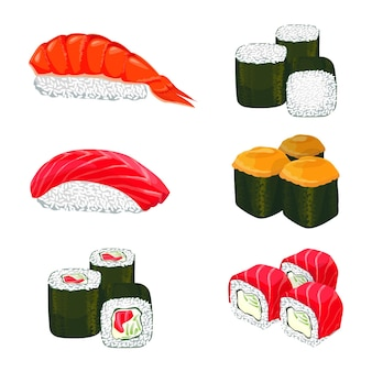 Collection of sushi types.  banner of asian rolls with white rice, salmon and other ingredients. four groups of sushi and two rice piles covered with salmon and piece of sea fish on white.