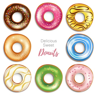 Collection of sweet donuts