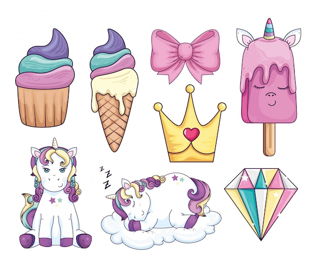 Collection of sweet and fantasy vector illustration design