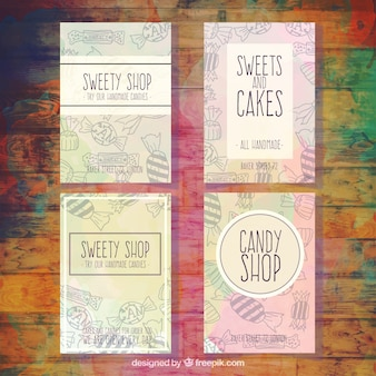 Collection of sweety shop flyer with drawings