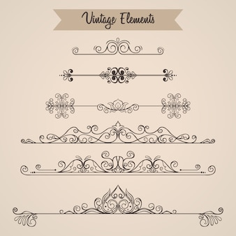 Collection of swirls ornaments decoration elements for invitation
