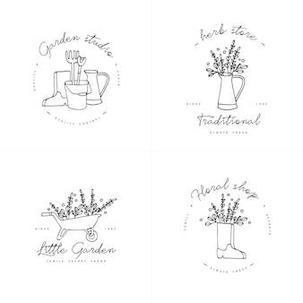 Collection symbol of gardening. Premium Vector