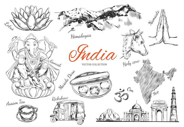 Collection of symbols of india isolated on white