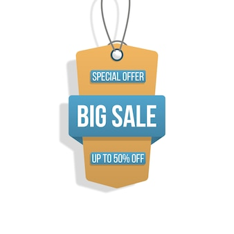 Collection of tags big sale shopping labels on white