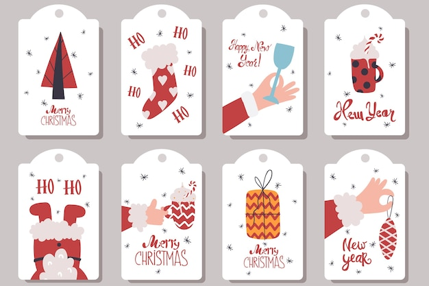 Collection of tags for new years gifts