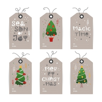 Collection of tags with christmas tree and holiday wishes. printable cards templates.