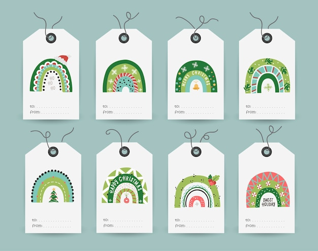 Collection of tags with festive rainbows. printable cards templates.