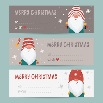Collection of tags with gnomes and holiday wishes. printable cards templates.