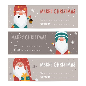 Collection of tags with gnomes and holiday wishes.