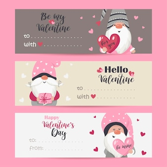 Collection of tags with valentine gnomes and holiday wishes. printable cards templates.