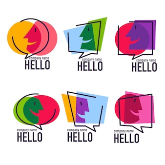 Collection of talking, speaking, chatting and communication logo, icons, signs and symbols