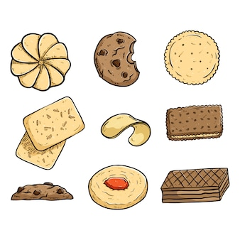 Collection of tasty coockies with colored doodle or hand drawn style